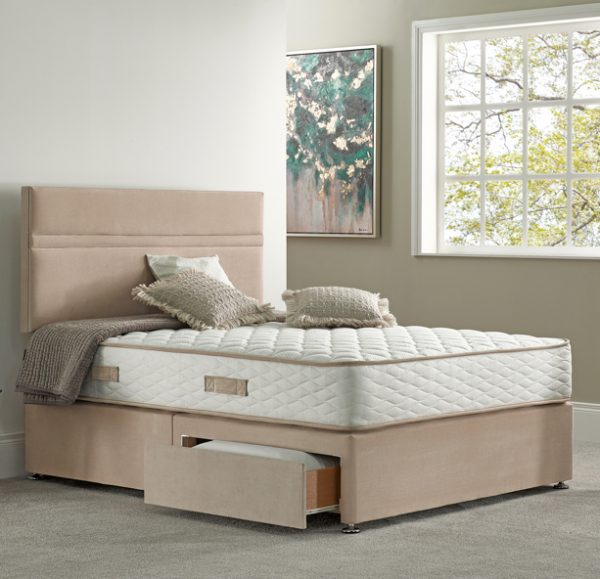 Beige Bed With Drawers