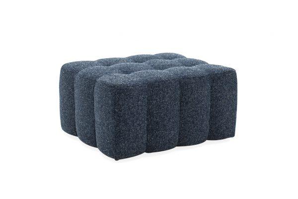 blue fabric footstool